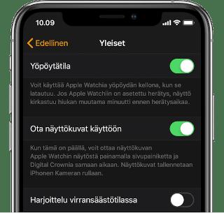 iPhone näyttökuva asetus
